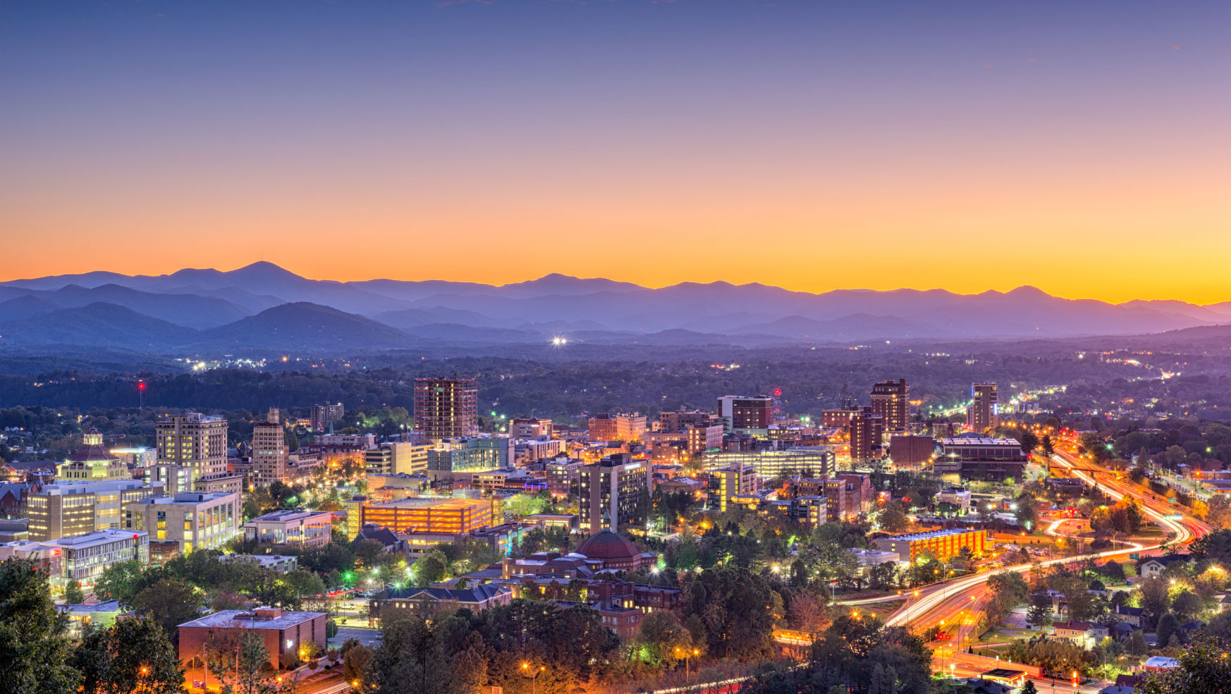 View of Asheville, NC during dusk light up by downtown